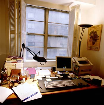 Caryl Phillips's 'chaotic' desk.